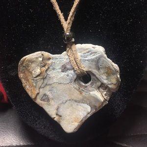 Handmade genuine abalone shell heart Necklace